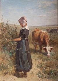jeune paysanne au champ by johannes hubertus leonardus de haas
