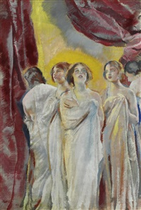 five singing girls by charles sims