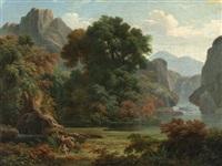 paysage de montage avec un satyre et une nymphe (pan et syrinx?) by pierre péquignot