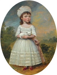 portrait of a lady in a garden (+ 2 others; 3 works) by francis alleyne