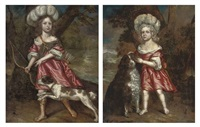 portrait of a young girl as diana with a dog in a landscape, a river beyond (+ portrait of a young girl in a red and white dress with a dog; pair) by charles d' agar