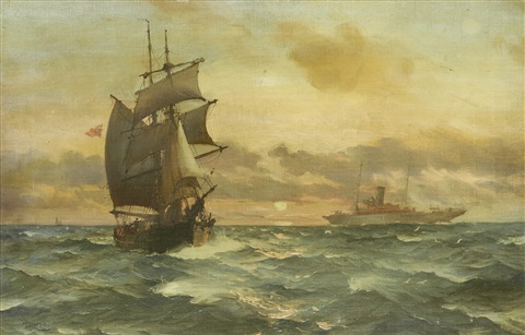 an elegant steam yacht passing a hard working old two master in the setting sun by montague dawson