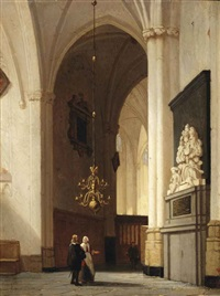 figures in a church interior by jan jacob schenkel