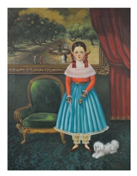 a girl and her dog; behind her a painting richly framed representing a 19th century promenade scene in the alameda in mexico by horacio rentería rocha