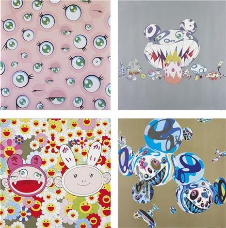 (i) jelly fish eyes; (ii) here comes media; (iii) kaikai kiki news; (iv) reversal d.n.a (4 works) by takashi murakami