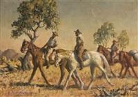untitled - stockmen by sir daryl ernest lindsay