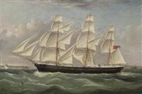 a british merchantman under full canvas in a stiff breeze by william webb