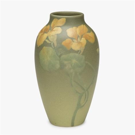 Matte Green Vase With Nasturtiums Albert R Valentien 1902 By