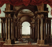 an architectural capriccio with travellers beneath an arcade, a landscape beyond by noel gasselin