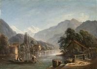 navigation sur l'aar. en fond la jnugfrau by isidore dagnan