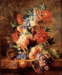 bouquet de fleurs, grappe de raisins et pêches by joseph baile