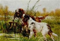 chiens rapportant un canard by rené valette
