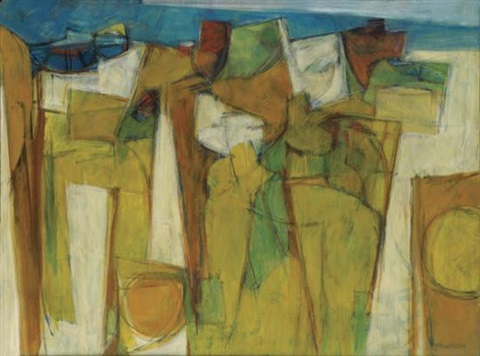yellow landscape from blue landscape by hale aspacio woodruff