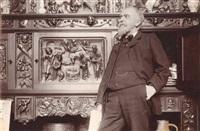léon lhermitte, peintre, devant un bas-relief, le 4 février by paul marsan dornac