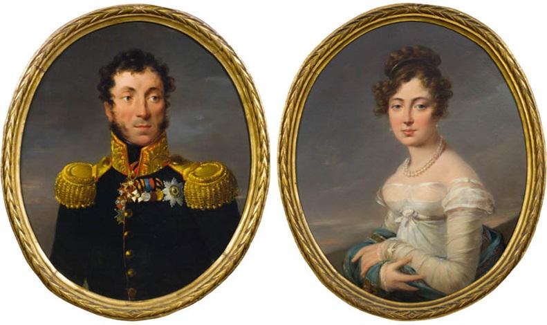 porträts von general pjotr sergeewitsch uschakow und seiner gemahlin maria pair by alexander molinari