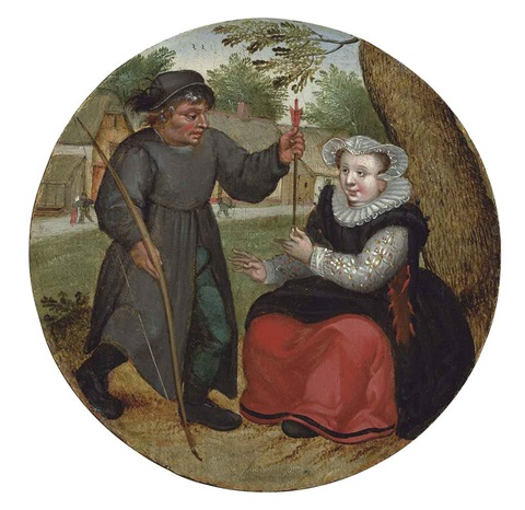 a burgher handing an arrow to a lady by pieter brueghel the younger