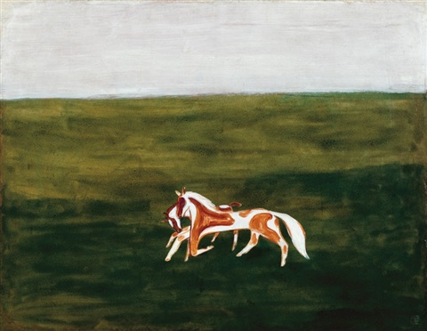 草原漫步 horses rambling on the grassland by sanyu