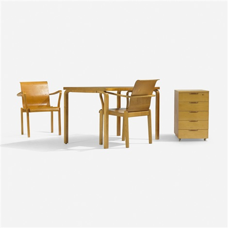 l-leg desk, return and pair of chairs (set of 3) by alvar aalto