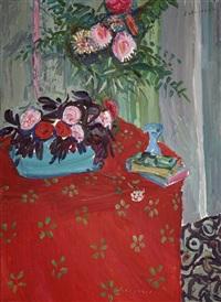 bouquet à la nappe rouge by emile sabouraud