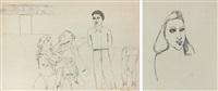 bilateral work: genre work, on reverse - portrait of a woman by jerzy nowosielski