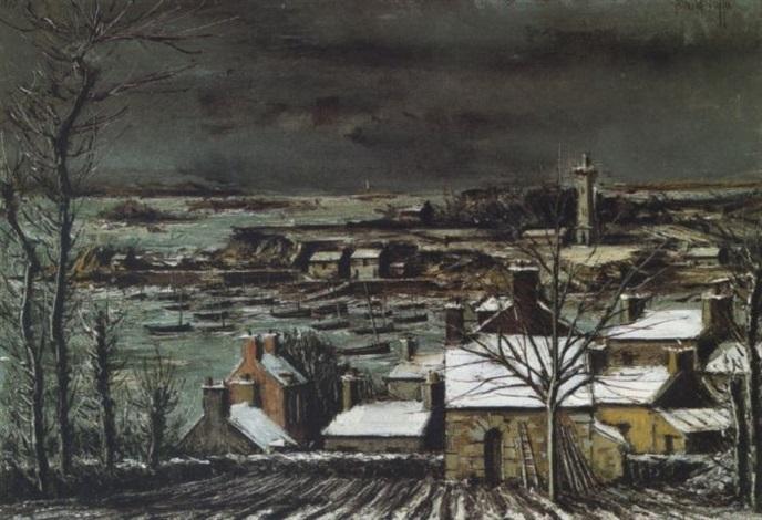 loguivy cotes du nord panorama de la baie en hiver by