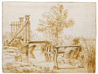 a bridge across a small canal, with moored boats by anthonie van borssom