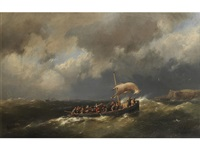 lifeboat heading for shore by hermanus koekkoek the younger