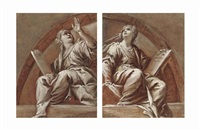 two sibyls; lunettes (pair) by luca giordano