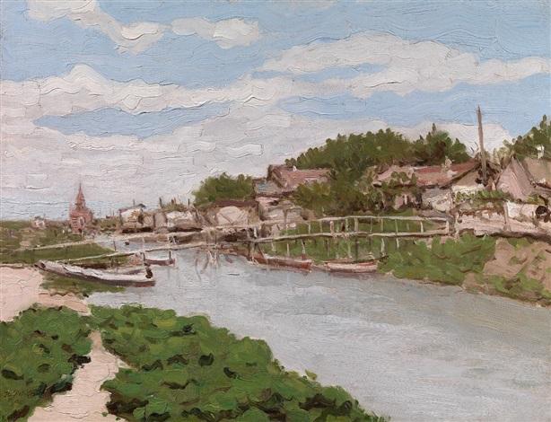 bridge over a river by theodore petroff