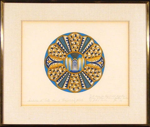 for gabella deste as a majolica plate by judy chicago