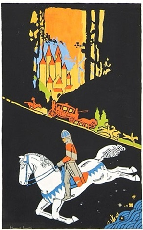 knight on horseback, carriage and castle in background by margaret iannelli