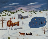winter scene with village, ice skaters, horse and sleigh by rose labrie