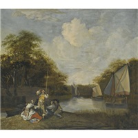 river landscape with party fishing by jacob esselens