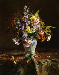 still life of flowers by willem korteling