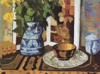 still life with pottery jug and bowl by john coyle