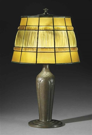 linenfold table lamp by tiffany studios