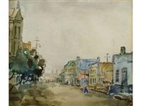 district six street scene, recto; garden study, verso by gregoire johannes boonzaier