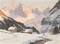 winterabend in valstal, (tirol) mit olperer und fussstein (zillertal) by erwin kettemann