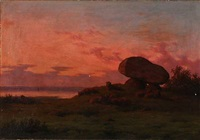 sunset with sheep at a dolmen by carl frederik bartsch