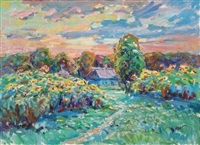 landscape with sun flowers by anatoli fomine