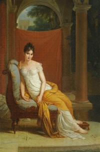 portrait of madame recamier (1777-1849), seated in a classical interior by alexandre-évariste fragonard