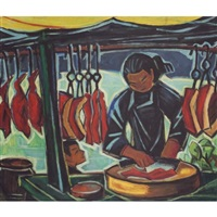 roast pork stall by liu kang