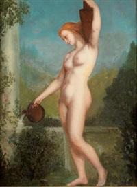 jeune femme à la fontaine by henri pierre picou