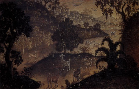 a landscape with deer ducks and a goat by anak agung gede sobrat