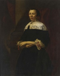 a portrait of a lady wearing a black dress with a white lace collar and lace cuffs with red ribbons by christoffel pierson