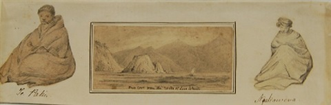 ship cove from the rocks of lone island with depiction of te pahi and nga kawena by george frederick swainson