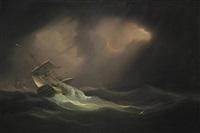 man-o'-war in a heavy sea by william john huggins