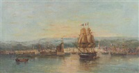 ships in a harbor at sunset by eugène gabriel jaboneau