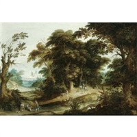 a wooded landscape with a poultry-seller, travellers and dogs on a path beyond by alexander keirincx