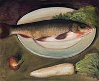 静物(白菜与胖头鱼) (still life with cabbage and fish) by li tiefu